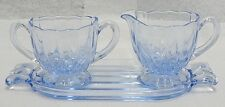 "BEAUTIFUL GLASS 3 PIECE BLUE "" JANISE "" SUGAR BOWL AND CREAMER SET WITH TRAY"