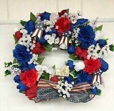 New listing Red, White, and Blue Floral Design Wreath For Patriotic Holidays ,15 Inch N.G.