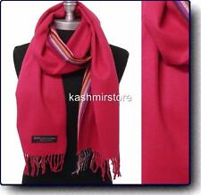 New 100%CASHMERE SCARF Striped Plaid Scotland Soft Warm Wool Color Hot Pink