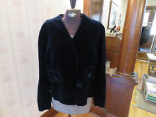 Antique 1920s Dark Blue Jacket with Velour Trim - Flapper Style