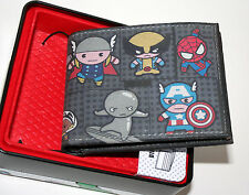 Marvel Comics Art Collection Kawaii Avengers & More Slimfold Wallet & Tin NEW