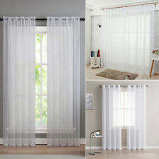 White Solid ColorTulle Voile Door Window Curtain Drape Panel Sheer ALL Sizes