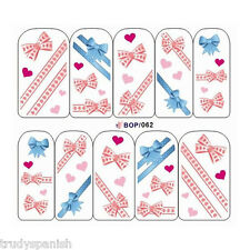 Nail Art Water Decals Stickers Pretty in Pink Blue Polka Dot Bows Gel Polish 62