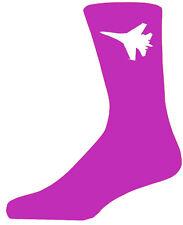 Alta calidad color de rosa caliente calcetines con un blanco avión de combate, Hermoso Regalo De Cumpleaños