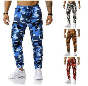 Camouflage Men's Cargo Pants Cotton Casual Military Combat Jogging Slim Trousers