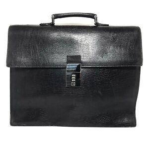 Gucci Authentic Mens Leather Flap Portfolio Breifcase Black