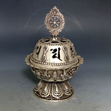 China Silver Bronze Hand-carved Incense Burners & Hollow out Lid