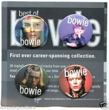 """DAVID BOWIE """"BEST OF BOWIE"""" SET OF 4 PROMO BUTTONS FROM 2002"""