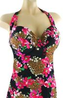 32A Victoria's Secret F/S Wildflower Molded Cup Pushup Halter Tankini Swim TOP
