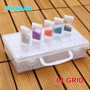 Plastic Storage Box 64 Cavity Divider Organizer Rings Earring Container Case