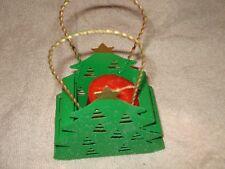 "Gold Tone Handle 5.5""x 2"" Metal Christmas Tree Basket Candle Holder"