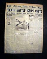 BATTLE OF CRETE Germans Germany Paratroopers Invasion1941 World War II Newspaper