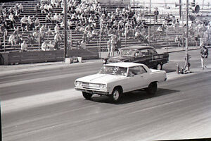 Pair of Chevy's at the Starting Line - Vintage 35mm Drag Racing Negative