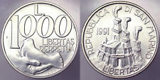 1000 LIRE 1991 LIBERTAS SAN MARINO ARGENTO SILVER #2191