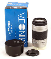 Minolta 75-300mm AF Zoom Lens OK per Sony DSLR fotocamere digitali, altri elencati.