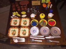 vintage lot miniature toys tea sets doll house pieces tin/plastic/metal