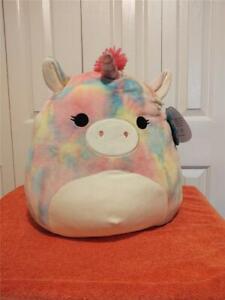 "Squishmallow Kellytoy 16"" Esmeralda Unicorn Plush Rainbow NWT"