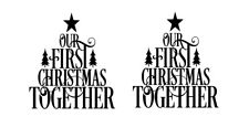 Our First Christmas Together Wine Bottle Small Frame Vinyl Decals X 2