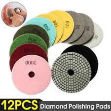 "12Pcs Diamond Polishing Pads Wet/Dry 4"" Set Kit Granite Concrete Marble Stone"