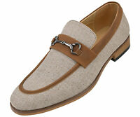 Amali Men's Moc Toe Duel Linen Loafer with Metal Bit