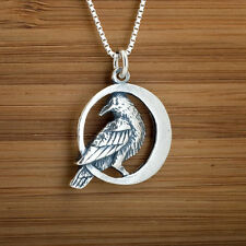 Handcast 925 Sterling Silver Raven on Crescent Moon Pendant FREE Cable Chain