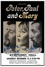 Folk Stars: Peter , Paul & Mary at Symphony Hall Concert Poster 1965
