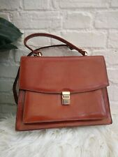 Vintage Roland Cartier Brown Leather Debonair Tazio Made In Italy Satchel Bag
