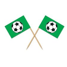 50 Football Soccer Green Flag Food Sandwich Cake Picks Sports Party Decorations