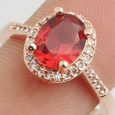 Wedding Red Oval Cubic Zircon Rose Gold Plated Lady Girl Jewelry Ring Size 8