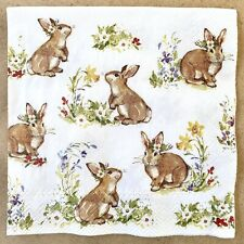 1 single Decoupage Cocktail Napkin Bunny Rabbits Easter Spring Flowers Animals