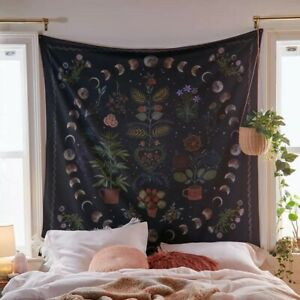 Moon Phase  Hanging Botanical Celestial Floral Wall Tapestry Hippie Flower Décor