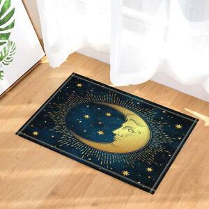 "Gold Sun and Moon Stars Desgin Bathmat Bathroom Rug Non-Slip Door Mat 16x24"""