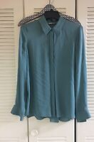 NWOT VINCE. Vince Womens Hi Low Silk Button Blouse Deep Teal Sz 12 Career Shirt