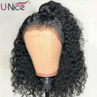 "UNice Brazilian Kinky Curly 13x6 Lace Front Human Hair Wigs 10"" 150% Density US"