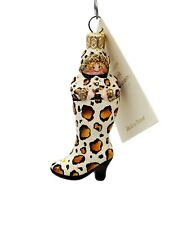 Patricia Breen Blown Glass Christmas Holiday Ornament Best Foot Forward Leopard