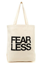 DOGEARED Fearless Canvas Tote Bag Cream Black Large Eco-Friendly Cotton USA NEW