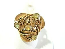 Yellow Rhinestone Adjustable Vintage Ring Leaves With