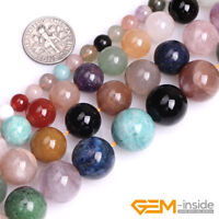 """Natural Multi-Color Gemstone Spacer Loose Round Beads For Jewelry Making 15"""" YB"""