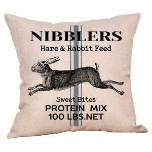 Rabbit Cushion Cover, vintage sack cushion, cotton canvas, grey stripe, bunny