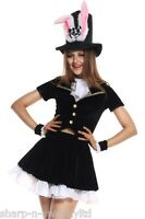 Ladies Sexy Mad Hatter Alice in Wonderland Rabbit Fancy Dress Costume Outfit