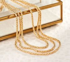 "72"" Long Round Byzantine Chain Necklace Lobster Clasp Real 14K Yellow Gold QVC"