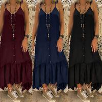 ZANZEA Women Buttons Down Slip Dress Pleated Long Shirt Dress Sundress Plus Size