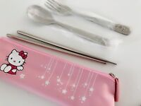 Girl Children Hello Kitty Stainless Steel Chopsticks Forks Spoon Pouch Cutlery