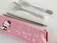 Girl Children Hello Kitty Stainless Steel Chopsticks Forks Spoon Pouch Cutlery