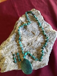 Jewelry for Bema Turquoise Stone Necklace and Earrings