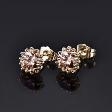HUCHE Retro Smoke Brown Sapphire Flower Gold Filled Lady Wedding Party Earrings