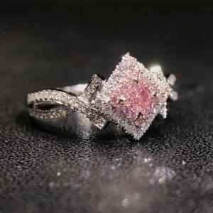 Fashion 925 Silver Women Pink Sapphire Wedding Engagement Rings Jewelry Size6-10