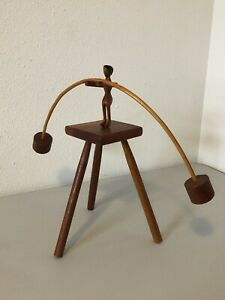 Vintage Balancing Man Toy Wood Handcarved Folk Art Rustic Primitive