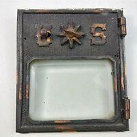 "Post Office Brass Mailbox Door 5-1/2"" X 6-1/2"" Beveled Glass Antique No Number"