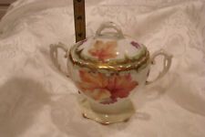 Vintage Hand Painted Bavarian Maple Leaves Sugar Bowl w/ Lid